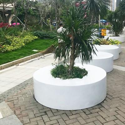 异形玻璃钢花坛树池座椅圆形花盆创意坐凳