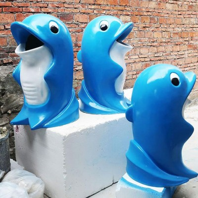 户外玻璃钢卡通垃圾桶雕塑幼儿园公园小区景观摆件可爱创意装饰