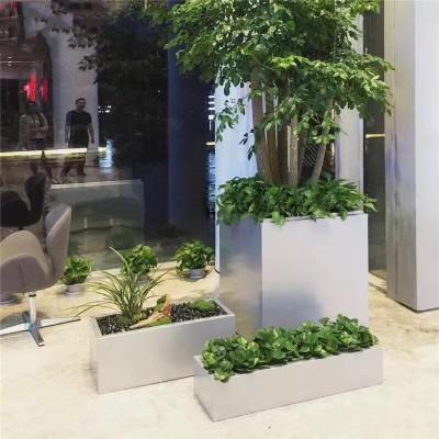 不锈钢组合特大花箱落地别墅门口卧式绿植花盆