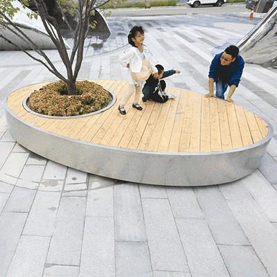 木质不锈钢景观异形树池坐凳
