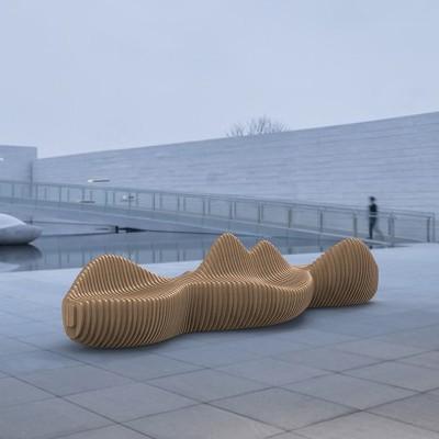 木质切片商场公共休息区等候坐椅