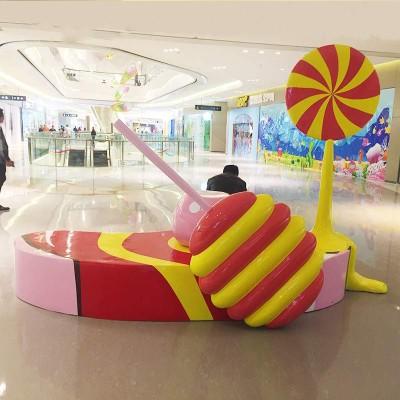 玻璃钢美陈彩绘休闲椅商场游乐场影楼儿童椅创意撞色棒棒糖座椅