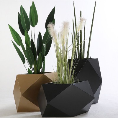 不锈钢花盆菱形花器创意花钵