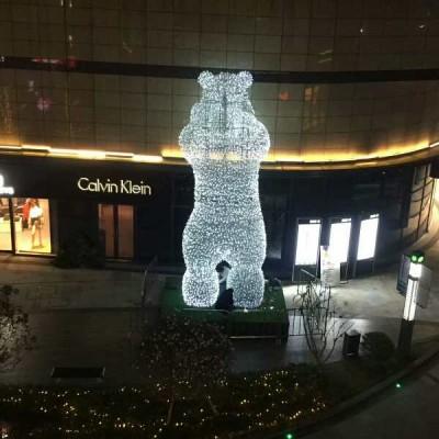 室内外不锈钢铁艺镂空熊雕塑摆件动物雕塑