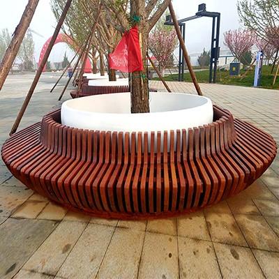 菠萝格木质玻璃钢组合树池座椅创意圆形花坛户外景观坐凳
