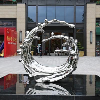 不锈钢水滴雕塑 酒店会所大堂抽象不锈钢水花浪花水池水景摆件