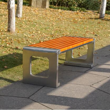 不锈钢长条坐凳公园防腐木景观座椅