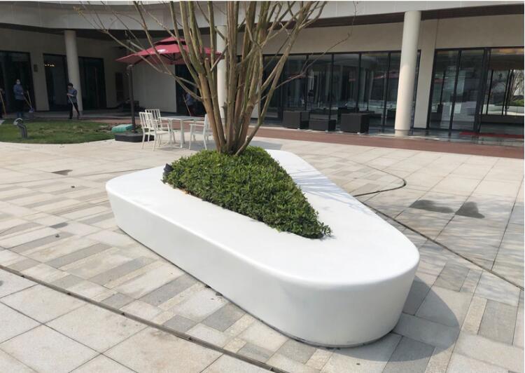 玻璃钢大号树池坐椅白色三角形花坛坐凳