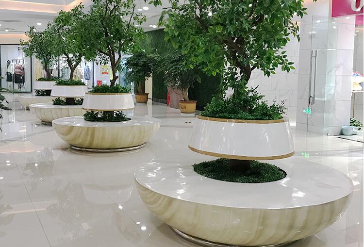 玻璃钢圆形树池座椅花坛公共休闲坐凳