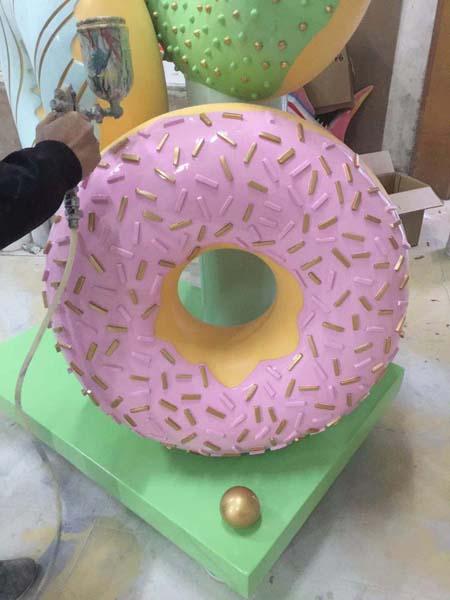 玻璃钢甜甜圈雕塑模型座椅凳子幼儿园装饰摆件
