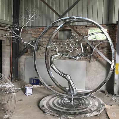 不锈钢月亮雕塑圆环镂空地标售楼处花园广场小区校园大型户外摆件