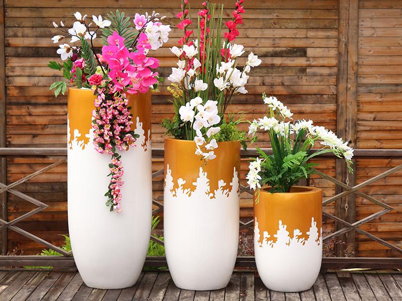 玻璃钢花盆商场花器组合酒店落地花瓶