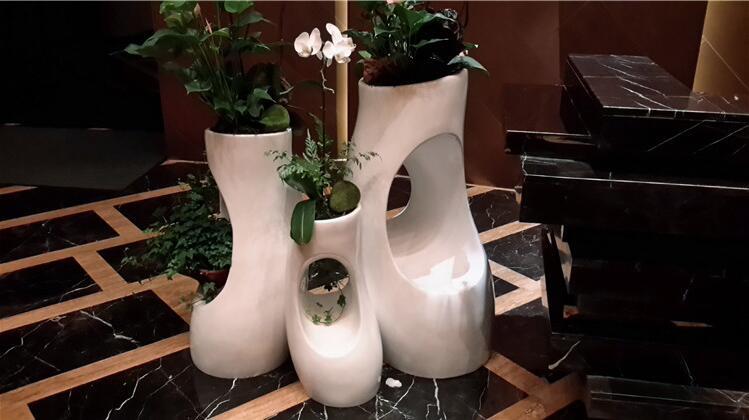 玻璃钢树洞花盆商场开业美陈异形花坛酒店落地花器户外商业街花钵