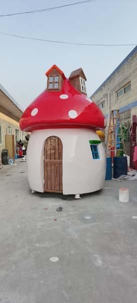 玻璃钢蘑菇屋造型美陈景观装饰摆件