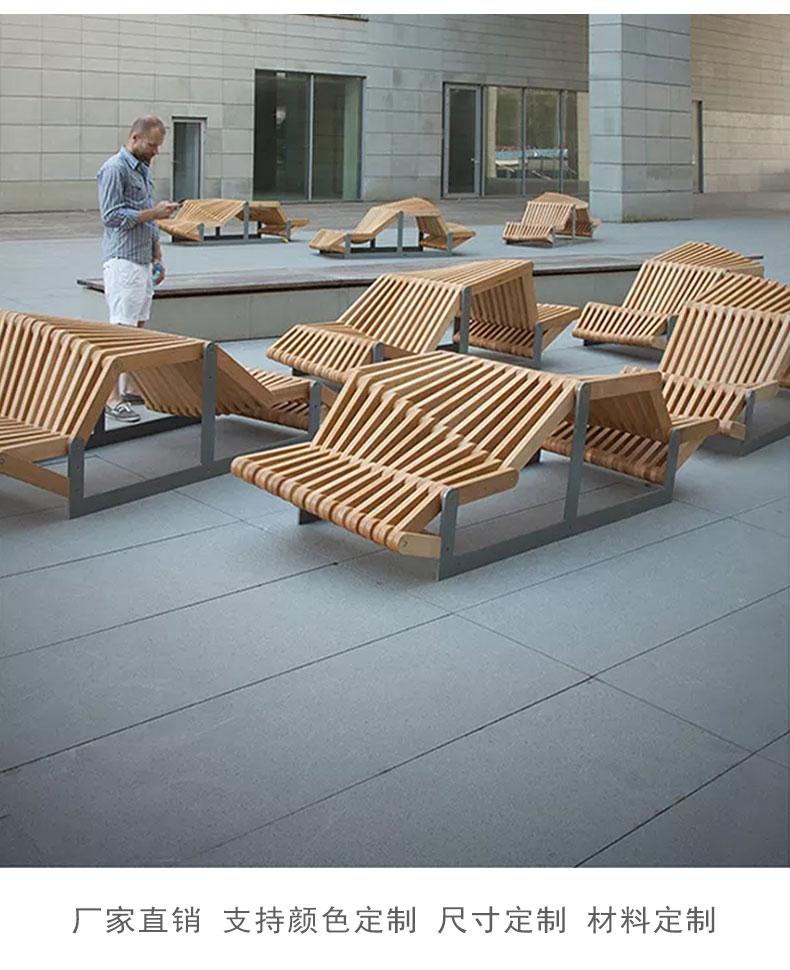 商场休闲椅创意座椅户外公园实木艺术长凳