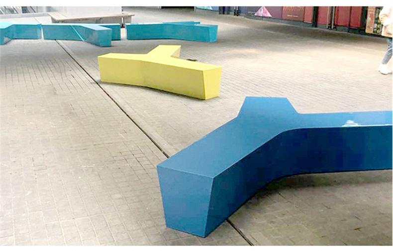 玻璃钢休闲椅创意Y形坐凳广场酒店走廊休息凳等候椅