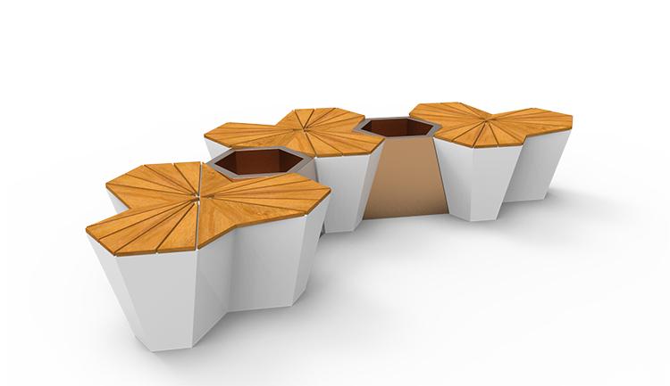 玻璃钢坐凳厂家直供户外美陈座椅创意枫叶造型凳商场花盆组合
