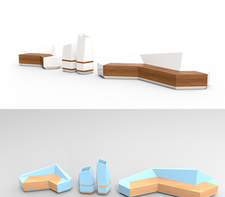 玻璃钢创意商场座椅切面花盆座椅组合坐凳休息区椅子