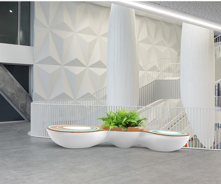 创意玻璃钢商场花盆座椅水波纹艺术坐凳写字楼公共休息椅