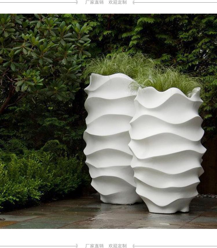 玻璃钢花盆波浪花器商场花瓶商业广场美陈户外花箱景观花瓶