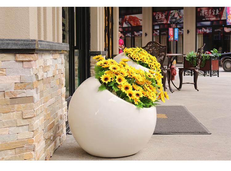 户外半圆玻璃钢花盆组合定制创意商场酒店落地大花钵