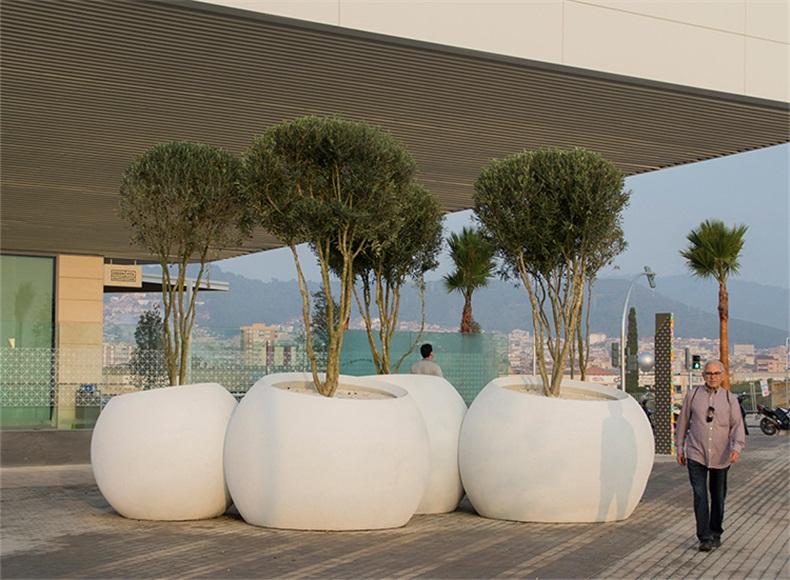 玻璃钢花盆特大号白色圆型球形户外花坛