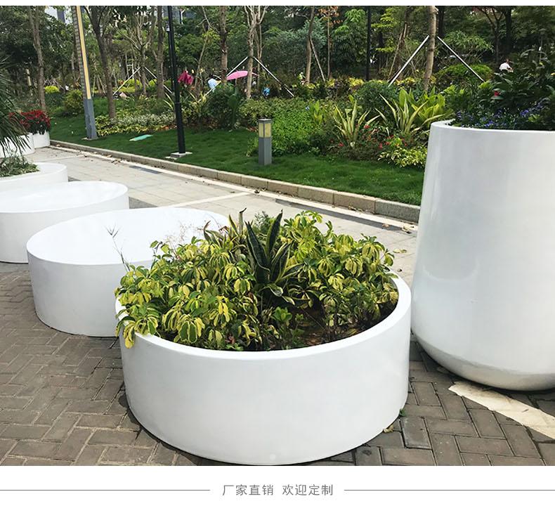 玻璃钢商业街创意组合花盆坐凳户外广场园林景观美陈花箱