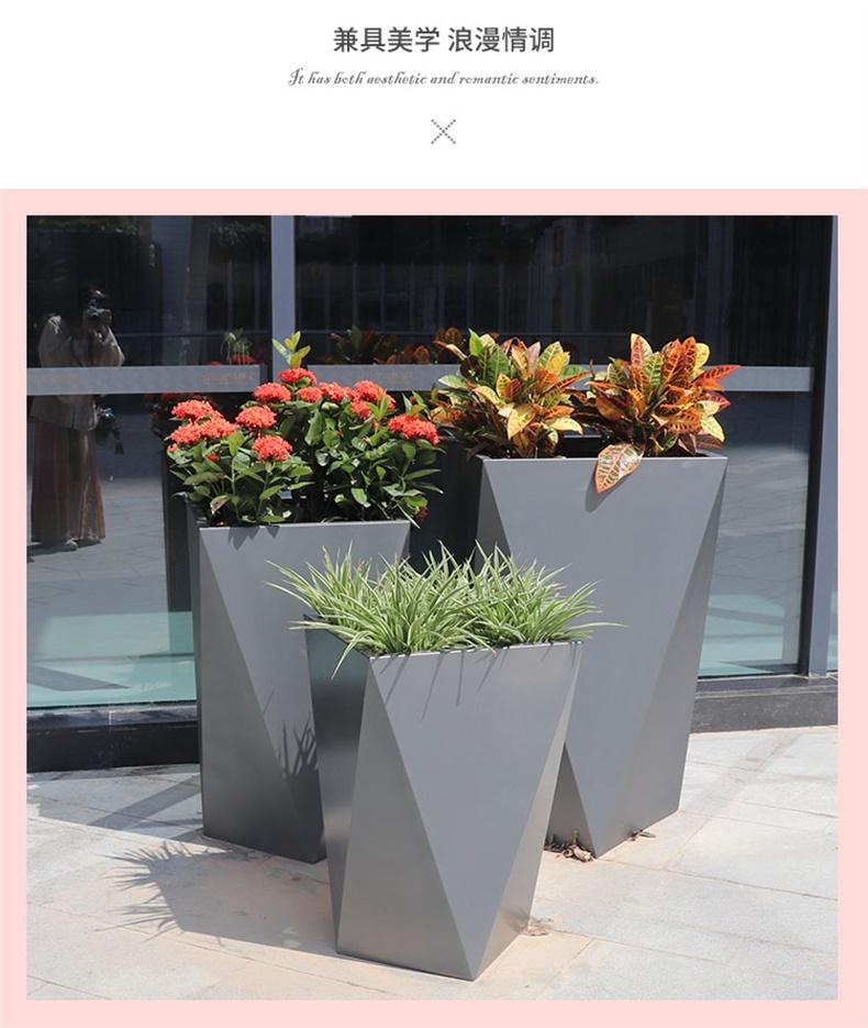 玻璃钢花盆定制不锈钢几何花盆商场美陈酒店花瓶