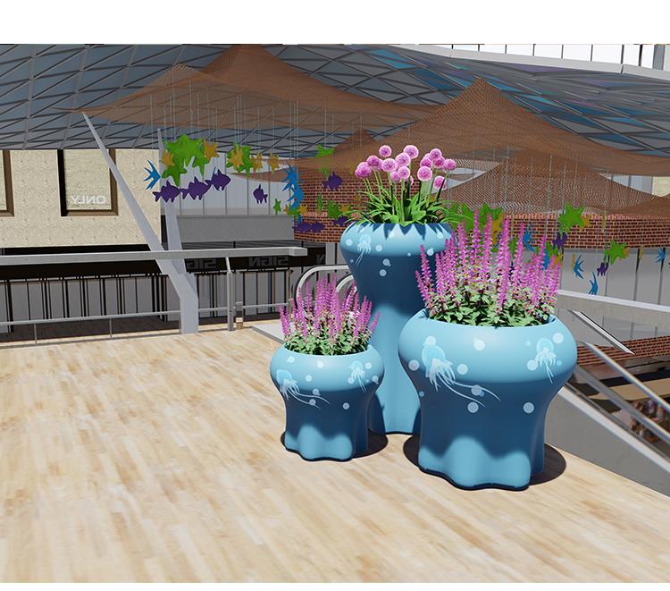 玻璃钢花盆组合商场创意个性客厅装饰水母落地大花器