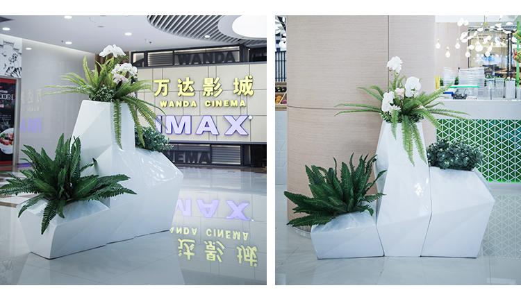 玻璃钢花盆商场菱形花瓶酒店售楼处组合花器