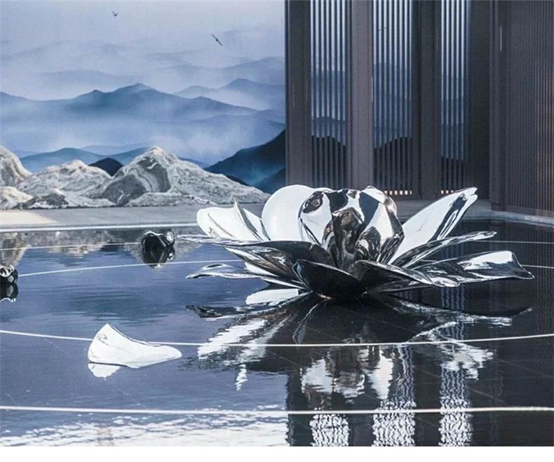 不锈钢白钢花朵荷花雕塑金属景观莲花水池抽象花瓣户外喷泉摆件
