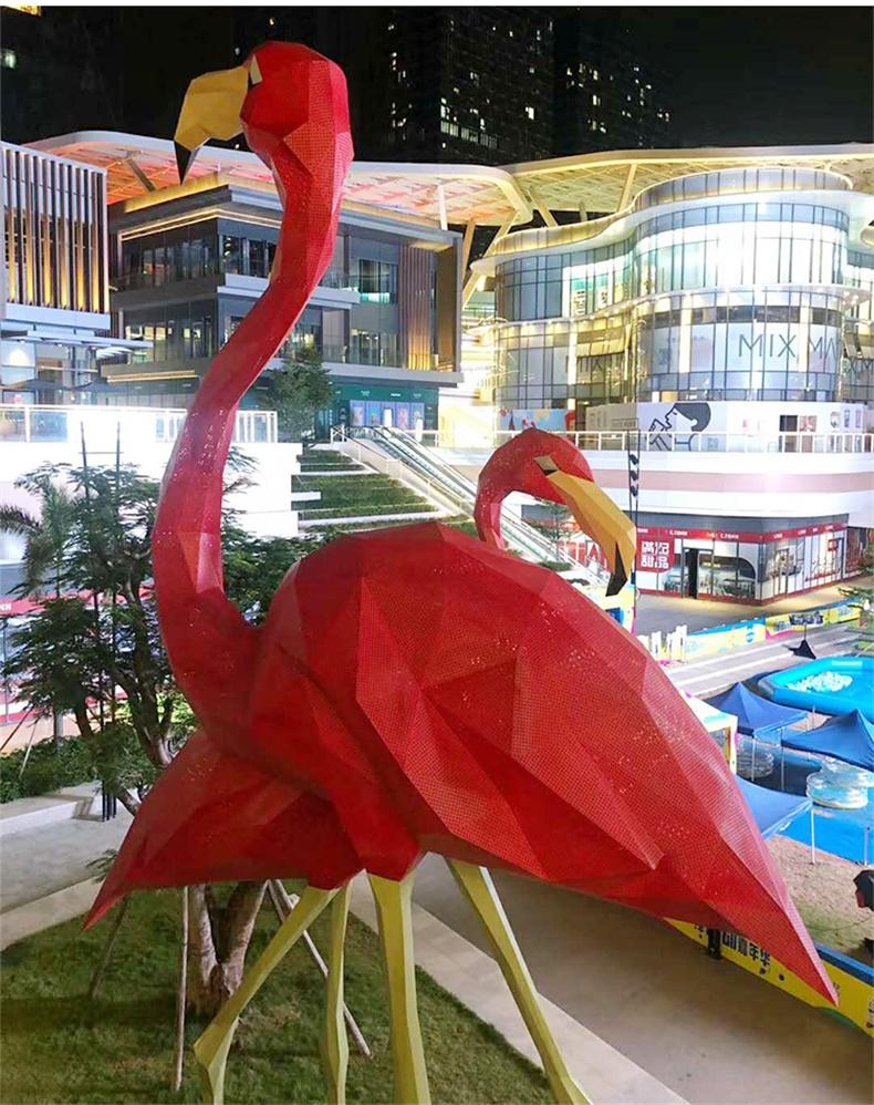 玻璃钢仿真动物火烈鸟雕塑园林景观户外楼盘广场大型摆件