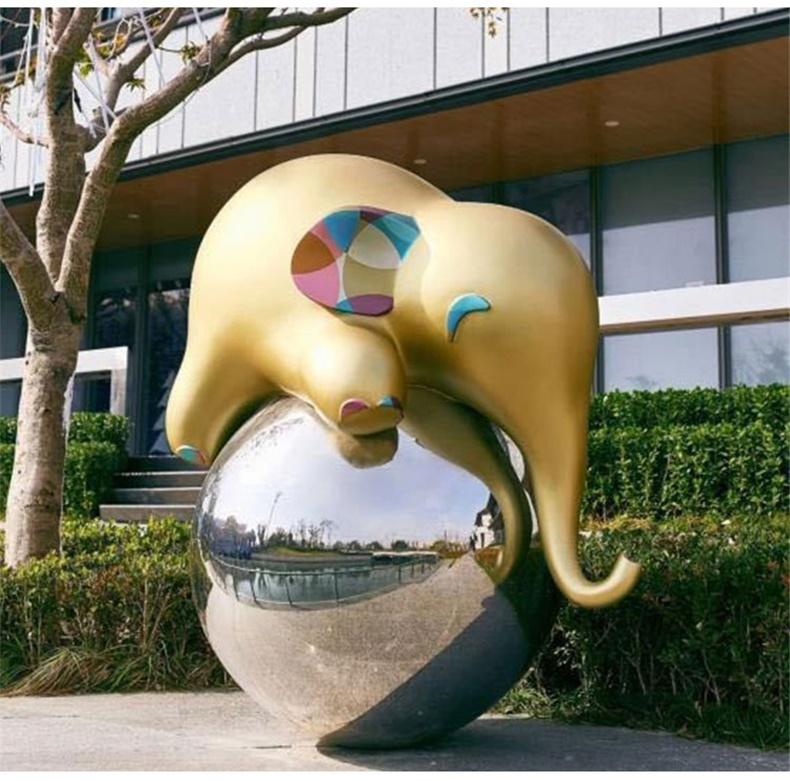 大型玻璃钢彩绘大象售楼处酒店户外雕塑园林景观地标迎宾摆件定制