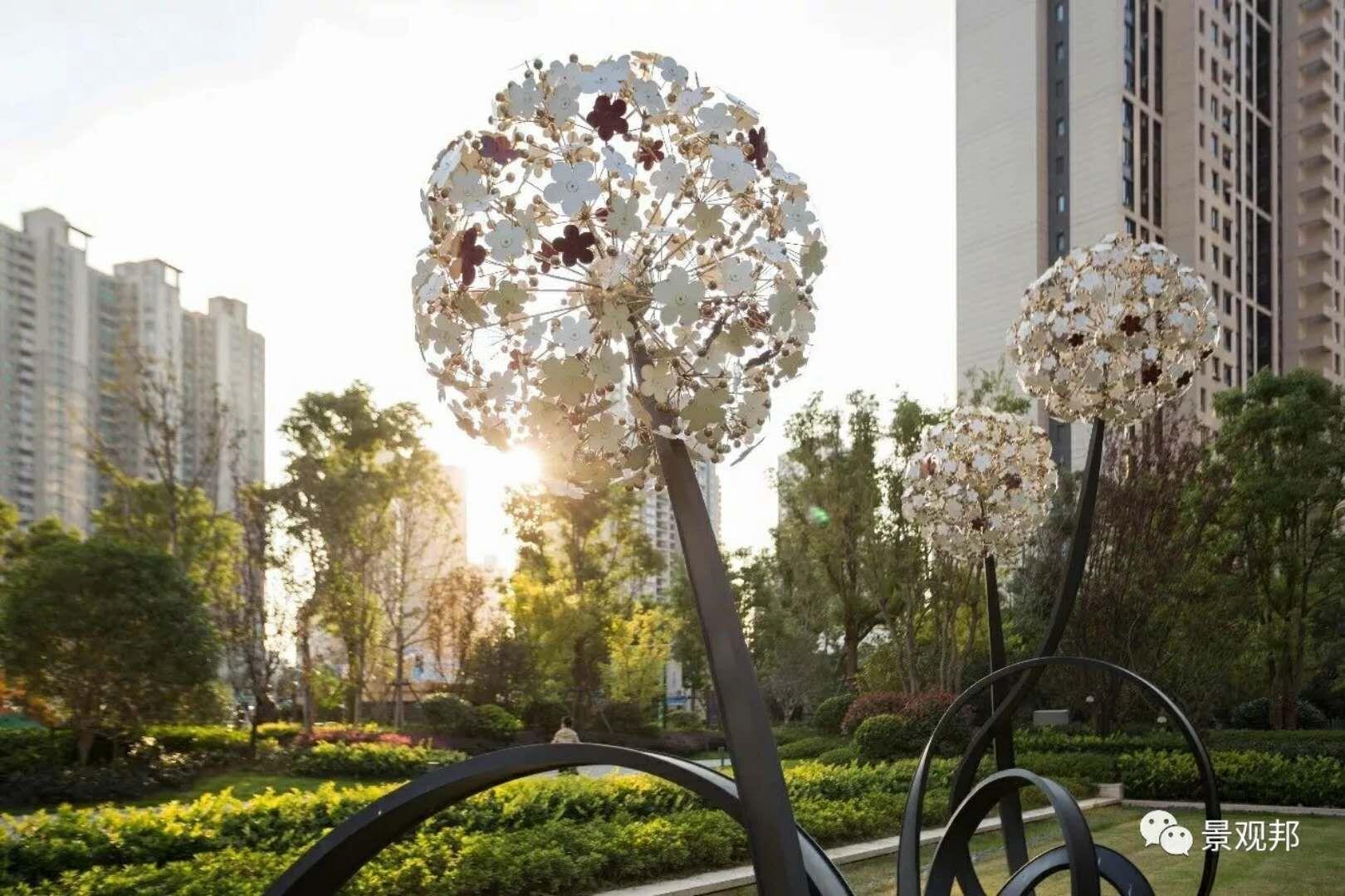 户外摆件不锈钢蒲公英雕塑简约镂空金属植物景观
