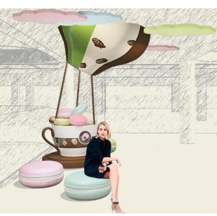马卡龙玻璃钢坐凳组合公园创意卡通美陈凳子